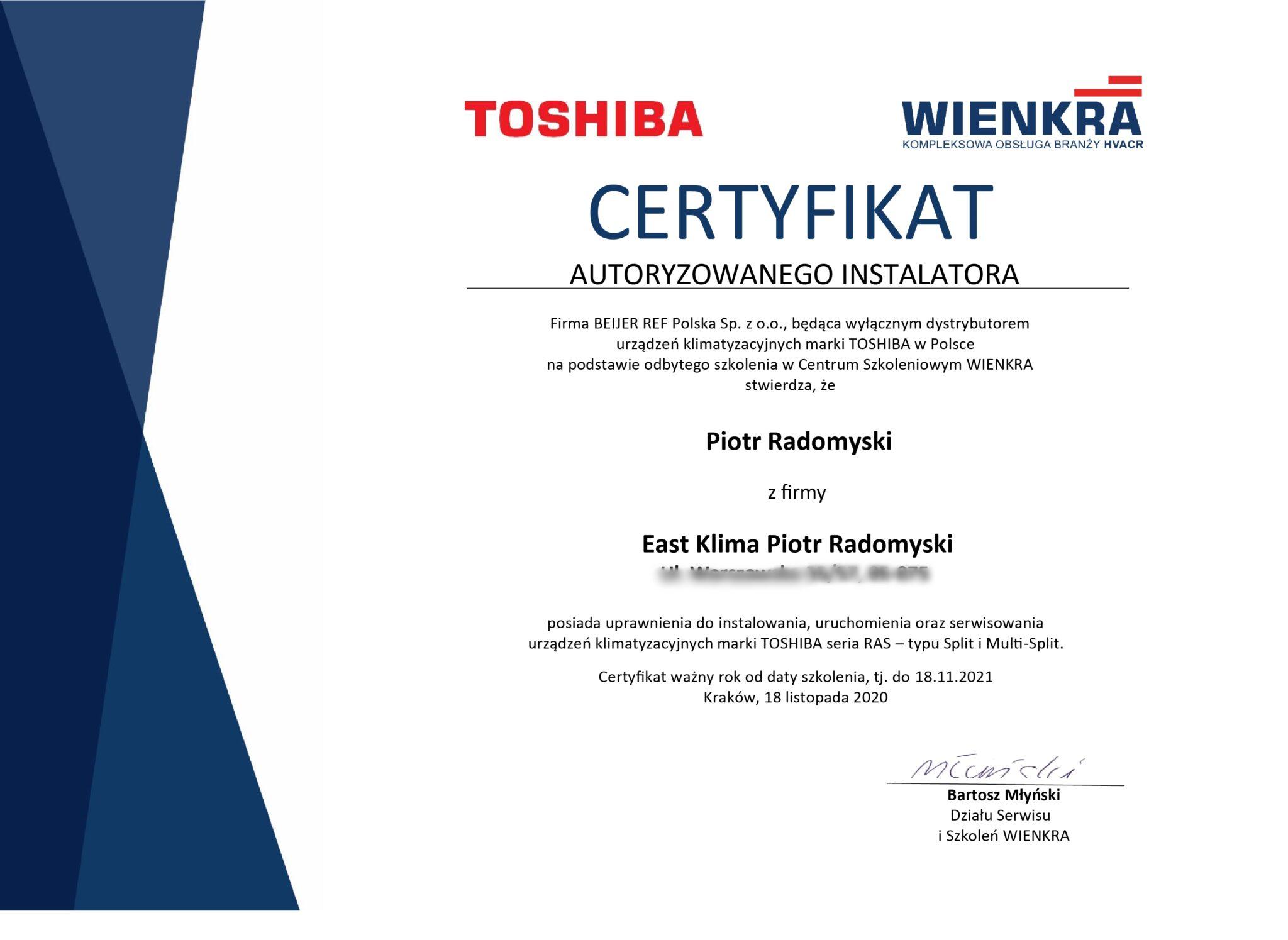 certyfikaty 18-11-2020 Toshiba Piotr Radomyski_